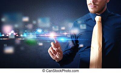 Interfaz de pantalla tocada futurista