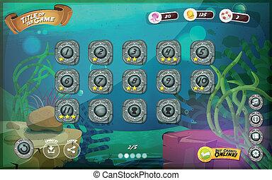 Interfaz de usuario del juego submarino para tablet