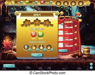 Interfaz de usuario, juego de ordenador, pantalla para especificar el nivel de paso