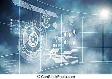 interfaz, futurista, tecnología
