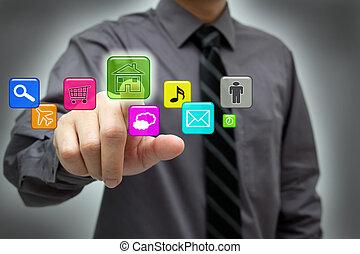 interfaz, hombre de negocios, touchscreen, hightech, utilizar