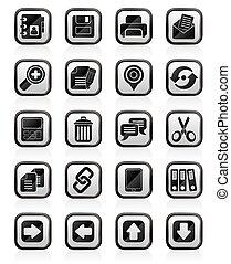 interfaz, iconos, internet