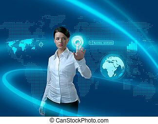 interfaz, mujer de negocios, futuro, soluciones, empresa / negocio