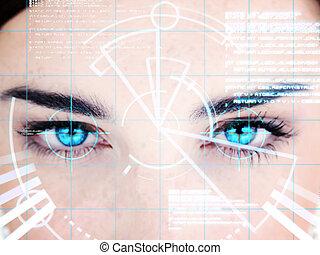 interfaz, mujer, eyed, azul