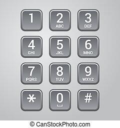 interfaz, vector, teléfono., usuario, telclado numérico