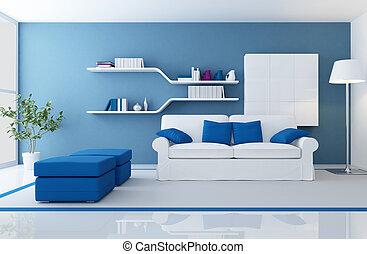 Interior azul moderno