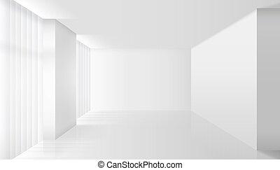 interior, blanco, vector, vacío