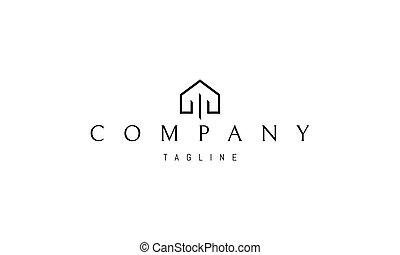 interior., casa, silueta, columnas, resumen, imagen, vector, logotipo