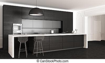 interior, clásico, diseño, minimalistic, cocina