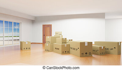 Interior con cajas de cartón