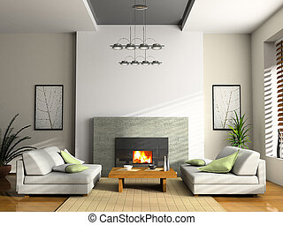 Interior con chimenea y sofás 3D