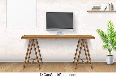 Interior con escritorio de madera y ordenador.