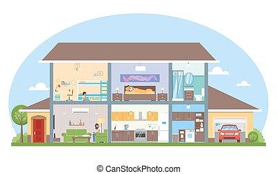 Interior con ilustración de vectores de los muebles de la habitación. Casa moderna detallada al estilo plano