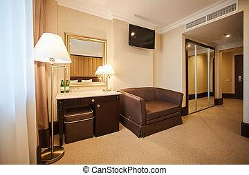 Interior de la moderna y cómoda habitación de hotel.