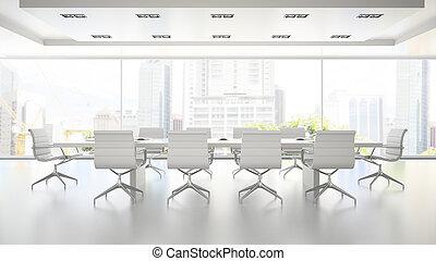 Interior de la sala de juntas blanca limpia 3D representando 2