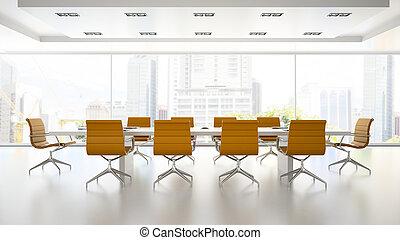 Interior de la sala de juntas con sillones naranjas 3D representando 2