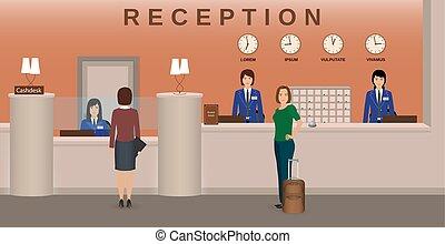 Interior de recepción del hotel con empleados e invitados. Recepción y caja. Un concepto de bienvenida.
