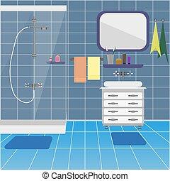 Interior del baño con ducha y lavabo