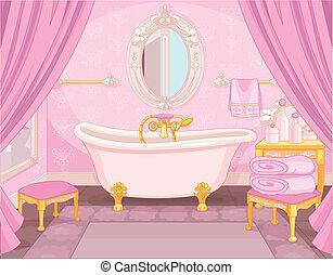Interior del baño en el castillo