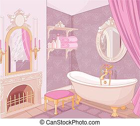 Interior del baño en el palacio