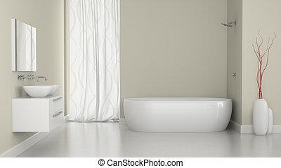 Interior del baño moderno con la ventana