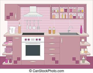 interior, furniture., cocina
