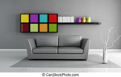 Interior gris minimalista