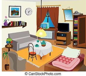 interior, habitación