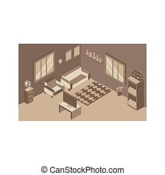 interior, habitación, vida, hogar, isométrico