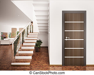 interior, hall de entrada, render, 3d