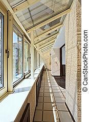 interior, largo, (gallery), balcón
