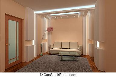 interior, lounge., 3d