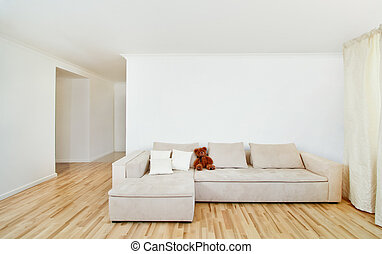 Interior moderno con pared libre