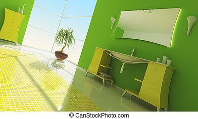 interior, moderno, cuarto de baño