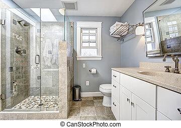 Interior moderno de baño con ducha de cristal