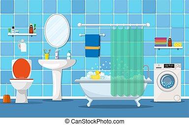Interior moderno de baño con muebles