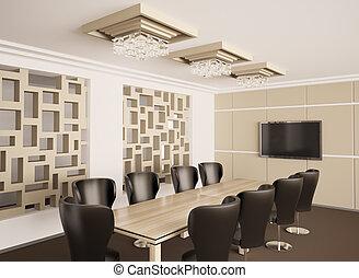 Interior moderno de la sala de juntas 3d