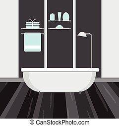Interior moderno del baño. Ilustración plana