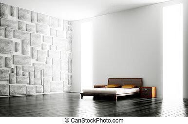 interior, moderno, dormitorio, 3d