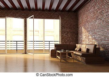 interior, pared, ladrillo, desván