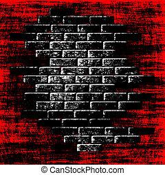 interior., resumen, plano de fondo, ladrillos, grungy, oscuridad, rojo