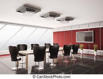 interior, sala juntas, lcd, moderno, 3d
