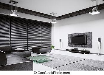 interior, sala, render, 3d