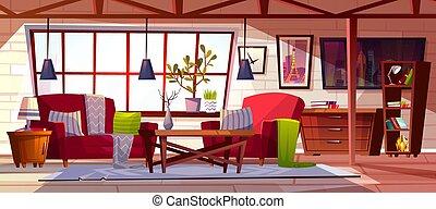 interior, vector, habitación, desván, salón, ilustración