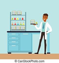 interior, vector, laboratorio, laboratorio, hombre, investigación, científico, ciencia, ilustración, dirigir