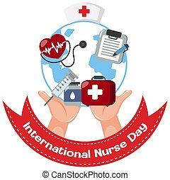 internacional, día, logotipo, médico, enfermera, objetos
