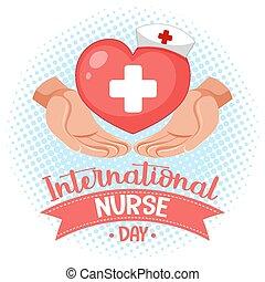 internacional, enfermera, día, médico, logotipo, cruz, corazón