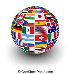 internacional, globo, banderas, mundo