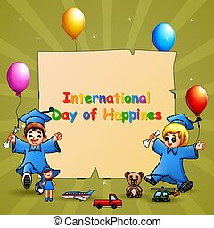 internacional, niños, día, graduación, plantilla, diseño, felicidad