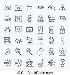 internet, línea, seguridad, iconos